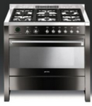 Smeg 90cm Opera Cooker - Black High Gloss