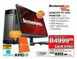 Lenovo Desktop Pc And Monitor-h505