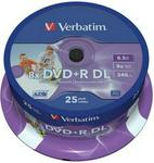 Verbatim DVD+R Double Layer Inkjet Printable 8x 25 Pack Spindle