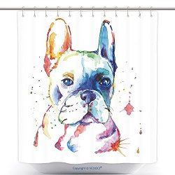 Vanfan Custom Shower Curtains French Bulldog Original Watercolor Illustration 359915666 Polyester Bathroom Curtain Set Wi