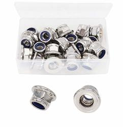 Cseao 20PCS M8 X 1.25MM Flanged Nylon Inserted Lock Nuts 304 Stainless Steel A2-70