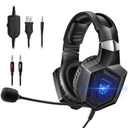 Onikuma Gaming Headset Stereo PS4 Headset With Flexible 360MIC Surround Sound Over-ear Xbox One Headset With Noise Cancelling Gaming Headphone LED Li