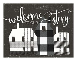 """Kindred Hearts Lightbox-insert Welcome To Story With Plaid Houses 9 3 4"""" X 7 1 2"""" Multi"""
