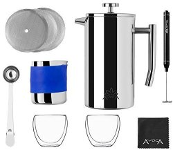 Ayogaimports LLC Premium French Coffee Press Complete Stainless Steel Set - 34OZ French Press Electric Milk Frother With Stand Milk Pitcher Two Double Walled Espresso Glasses