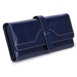 S-ZONE Women's Rfid Blocking Real Leather Long Organizer Wallet Card Holder Ladies Clutch Blue