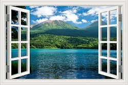GreatHome Art Peel And Stick 3D Wall Decal Sticker Nuature Lake And Mountain Scenery Window View Home D Cor Art Removable Wall Murals For Living Room