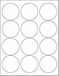 """Laser ink Jet White Labels 2-1 2"""" Round - 12 Per Page 600 Labels"""