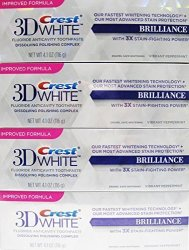 Procter & Gamble Health Care Crest 3D White Brilliance Toothpaste Mesmerizing Mint 4.1 Oz Pack Of 4