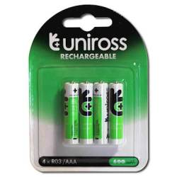 Uniross 4 Pack Aaa Rechargeable