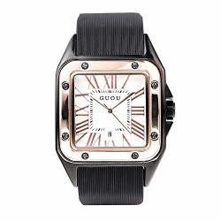Unique Square Quartz Watches For Women Guou Silicone Band 21MM Waterproof Ladies Watch With Calendar