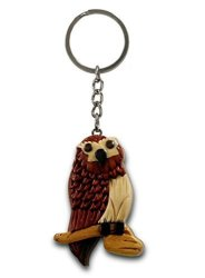 """OWL Barn Yard Hoot Hoot Great Horn Hand-carved Key Chain With No Paints No Stains No Two Will Ever Be Identical 2 3 4"""" X"""