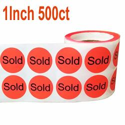 """Wootile 500 1"""" Stickers labels""""sold"""" Red Stickers Labels Retail Sold"""