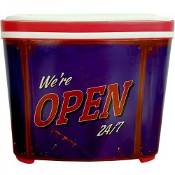 Leisure Quip We Open 24-7 10L Hard Body Cooler