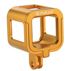 Puluz Housing Case Shell Cnc Aluminum Alloy Protective Cage With Insurance Frame For Gopro HERO5 Session HERO4 Session Gold