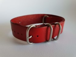 22MM Pu Leather Nato Watch Strap Red