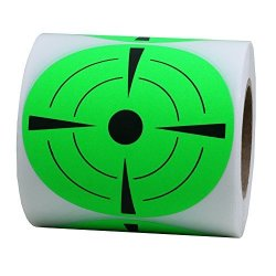 Hybsk Target Pasters 3 Inch Round Adhesive Shooting Targets - Target Dots - Fluorescent Green And Black
