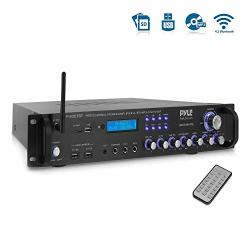 Pyle Bluetooth Hybrid Amplifier Receiver - Home Theater Pre-amplifier With Wireless Streaming Ability MP3 USB SD AUX FM Radio 30