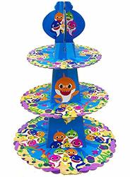 3 Tier Baby Shark Cake Stand Cardboard Cupcake Stand Party Supplies Dessert Cupcake Holder For Kids Birthday Party Baby Shower B