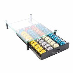 Coffee Pod Holder Storage Rack Capsules Capacity Drawer For Nespresso Vertuoline 40 Pods Glass Drawer