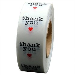 Hybsk Tm 1 Inch Round Clear Circle Wafer Thank You Stickers With Red Heart 1 000 Adhesive Label Per Roll