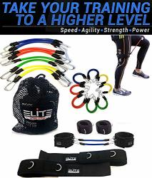 11 Piece Speed Agility Strength Leg Resistance Bands- Fitness Exercise Bands Complete Set For Soccer Kick Boxing Basketball Foot
