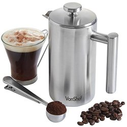 DOMU Brands LLC Vonshef Double-wall Keep Warm Satin Brushed Stainless Steel French Press Cafetiere Coffee Filter 6 Cup W Measuring Spoon And Sealing Clip . Available In Sizes 3 6 And 8 Cup