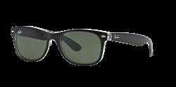 Ray-Ban New Wayfarer RB2132 6052 Sunglasses - Black With Green Lens