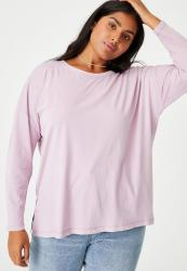 Cotton On Curve Oversized Side Split Long Sleeve Top - Washed Soft Mauve