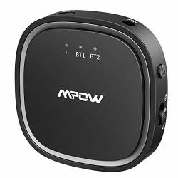 Mpow Bluetooth 5.0 Transmitter Receiver 2 In 1 Bluetooth Audio Adapter 3.5MM Aux low Latency hd For Tv home Sound System car nin