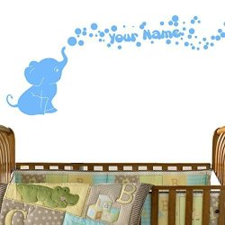 Decal The Walls Elephant Bubbles Vinyl Wall Decal With Your Personalized Name Nursery Decor Great Gift Light Blue
