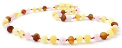 BoutiqueAmber Raw Baltic Amber Teething Necklace Made With Rose Quartz Beads - Size 11 Inches 28 Cm - Unpolished Multicolor Baltic Amber Beads -