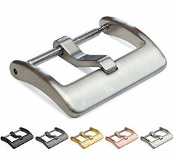 Barton Watch Bands Barton Elite Watch Band Replacement Buckle - Choose Color & Width - Brushed Finish - 20MM Stainless Steel Silver In Color