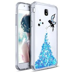 Ikasus Galaxy J5 Pro Case Ultra Thin Clear Crystal Bling Shiny Giltter Paillette Angel Rubber Frame Transparent Tpu Soft Silicone Bumper Case Cover For