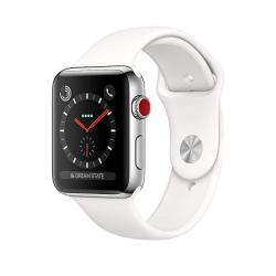 Apple Watch Series 3 38MM Gps + Cellular Stainless Steel Case White Sport Band Renewed