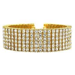 6 Row Bracelet Bling Bling Hip Hop Style Gold