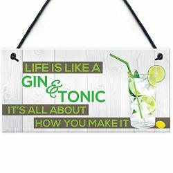 Xld Store Life's Like Gin &tonic Funny Alcohol Motivation Hanging Plaque Pub Bar Gift Sign
