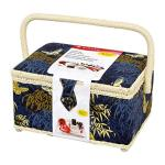 Singer 07242 Field In Flight Vintage Sewing Basket With Notions Blue