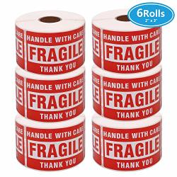 """Mrdzx 6 Roll Fragile Stickers - 3""""X 2"""" Strong Adhesive Red Fragile Labels Handle With Care Warning Stickers For Shipping Packing Of Goods And Moving 1 ROLL 500 Labels"""