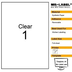 Mr-Label Clear Full Letter Sheet Removable Adhesive Labels Transparent Tear-resistant Waterproof Stickers For Kitchen Use Manufacturing And Storage-laser Print Only 10 Sheets