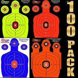 Shooting 100-PACK Targets - 25 Sheets Of Each Color Fluorescent Orange Neon Green Electric Blue And Hunter Orange. Easy To See Y