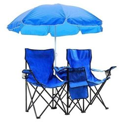 Lovinland Folding Chair Dual Seat Camping Chair Fold Up Outdoor Chair with Cooler and Umbrella for Beach Picnic Fishing