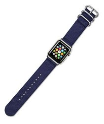 DeBeer Replacement Watch Band - 2-PIECE Nylon - Navy Blue - Fits 42MM Series 1 & 2 Apple Watch Blac