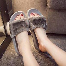 AMA TM Women Soft Plush Flat Slippers Winter Autumn Home Bedroom Slippers US:7 Gray