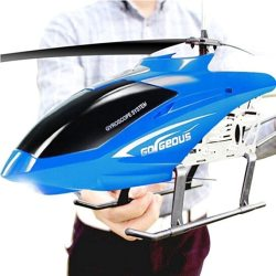 RC Aored Airplane The For Kids 80CM Body Drone Charging Electric Resistance To Fall Pressure Airaft Outdoor Remote Control Alloy Helicopter 3.5CH Huge Color : Blue