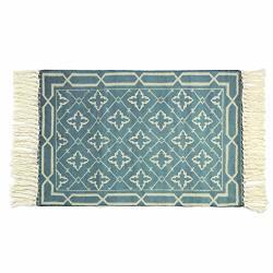 LEEVAN Moroccan Cotton Area Rug Hand Woven Cream Chic Diamond Print Tassels Throw Rugs Door Mat With Non-slip Pads Indoor Area R