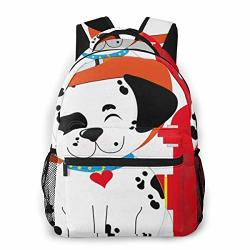 Grade Casual Backpack Laptop Bag Cute For Boys And Girls - Dog A Smiling Dalmatian Pup Wearing A Firemans Hat And Wagging His Tail