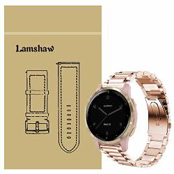 For Garmin Vivoactive 4S Band Blueshaw Quick Release Stainless Steel Metal Replacement Straps Vivoactive 4S 40MM Smartwatch Metal-rose Gold
