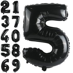 GGDE 32 Inch Big Black Number 5 Foil Mylar Balloons Giant Birthday Party Decorations And Anniversary Supplies