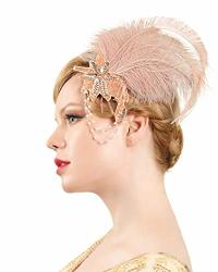 Zivyes 1920S Peacock Headpiece Feather Costume Hair Clip Flapper Headpiece Hat Accessory A2-LIGHT Rose Gold