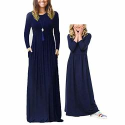 Qin.orianna Mommy And Me Long Sleeve Matching Maxi Dresses With Pocket For Family Photograph Mom's Size Us 8-10 Navy